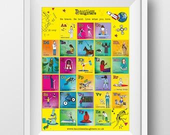 A3 ABC print,  Alphabet Art, Nursery Art, Dauntless Daughters Art, Feminist, Stem girls!
