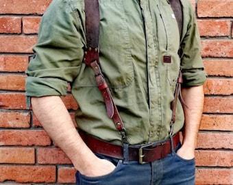 Leather Suspenders, Wedding Suspenders, Mens Suspenders, Groomsmen Suspenders, Rustic Suspenders, Rustic Wedding, Cognac Suspenders