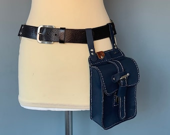 Hip bag festival bag Fanny Pack beltbag pouch blue leather