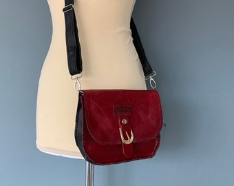 Red vintage style wristlet flap bag belt bag firm leather