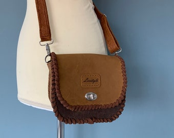 Vintage style shoulder bag beltbag brown leather