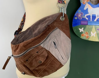 Fanny Pack bumbag hobotas shoulder bag brown beige suede leather