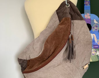 Fanny pack bumbag xxl of brown suede leather
