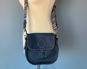 Small blue shoulder bag handbag leather