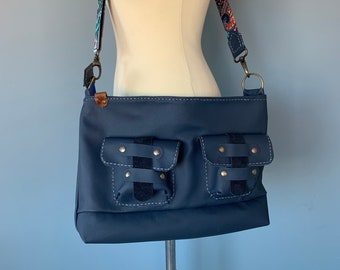 Shoulder bag handbag blue leather