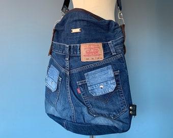 Shoulder bag Backpack Double use Obotas messenger bag made from a Levi's Jeans