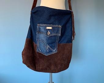 Shoulder Bag hobo bag bumbag brown leather with denim