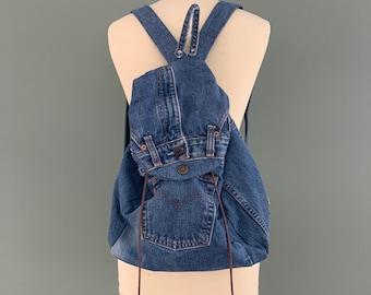 Jeans/ leren rugtas