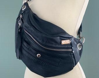 Fanny Pack bumbag beltbag Festival bag travel bag black leather crossbag