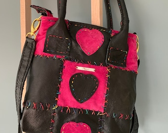 Patchwork Leather Handbag Shoulder Bag Pink Black