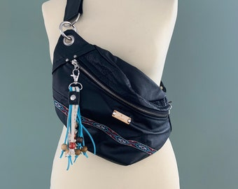 Fanny Pack black leather bumbag hobo bag crossbody bag