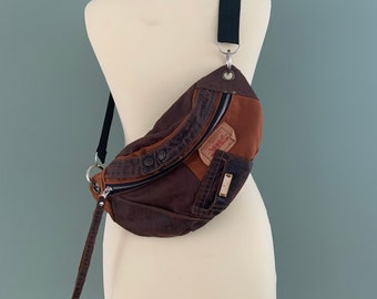Fanny Pack beltbag recycled Levi's jeans brown hobotas hip bag