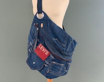 Denim Fanny Pack Xxl oversize bumbag large hobotas recycled Levi's jeans