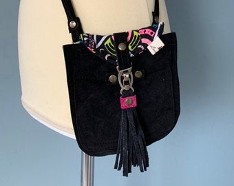 Small black suede leather wristlet with fringes