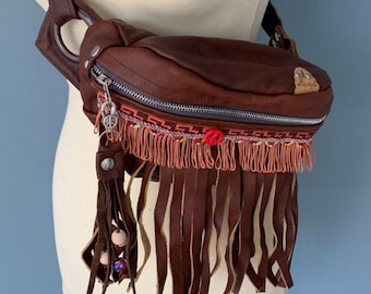 Fanny pack Boho bumbag hippie bag brown leather