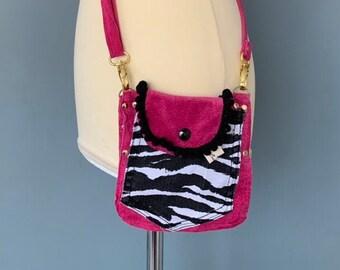 Belt Pouch small shoulder bag travel bag pink suede leather