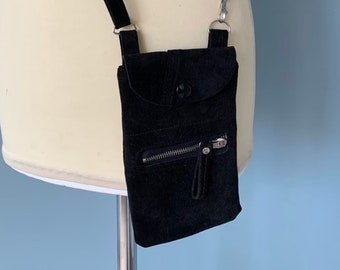 Black leather phone Pouch travel pouch