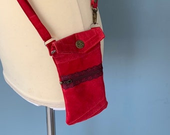 Leather phone pouch bag red suede