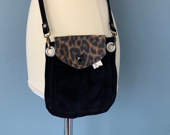 Small Wristlet phone pouch belt pouch in black leather with leopards print flap