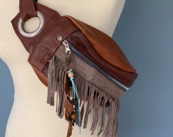 Fringes Fanny pack bumbag brown leather