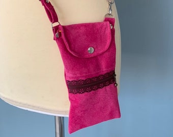 Leather phone pouch bag pink suede