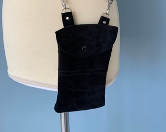 Black suede leather Phone travel pouch