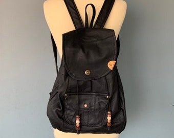 Backpack backpack made of black leather