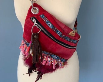 Boho Fanny pack bumbag red suede leather with fringes and feathers