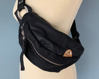 Fanny Pack Black Leather bumbag