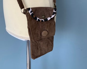 Brown suede leather phone travel pouch sleeve