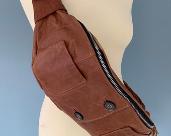 Fanny Pack beltbag waist bag bumbag money pouch brown Leather