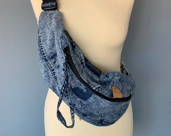 Fanny Pack jeans denim beltbag with cracks