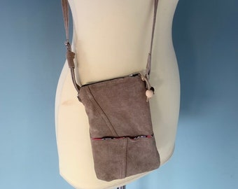 Leather phone shoulder bag money pouch beige leather