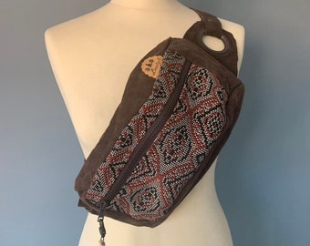 Fanny Pack Beltbag Hip pouch with boho print and leather