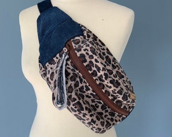 Fanny pack bumbag Denim and leopard print