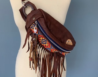 Fanny pack Boho bumbag with fringes of brown leather