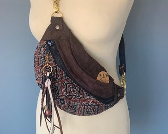 Fanny Pack beltbag Boho Festival bag with leather