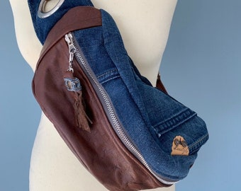 Fanny Pack Brown leather bumbag with denim