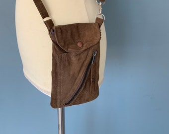 Leather phone pouch bag brown suede soft leathers
