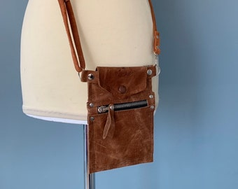 Wristlet phone pouch Case brown leather