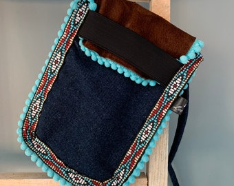 Small boho pouch phone bag Festival pouch Jeans