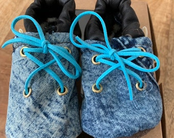 Baby/Kids Slippers of jeans and leather with laces