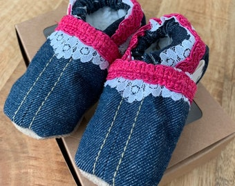 Jeans Leather baby/kids slippers with lace
