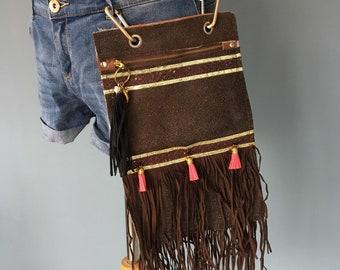 Ibiza bag Brown leather fanny pack, belt bag leather, festival belt, belly bag, waist bag, hipbag, belt pocket, Pocket belt, bum bag