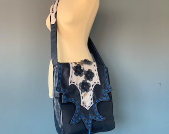 Blue leather shoulder bag oboe bag crossbody bag boho style with a goat fur