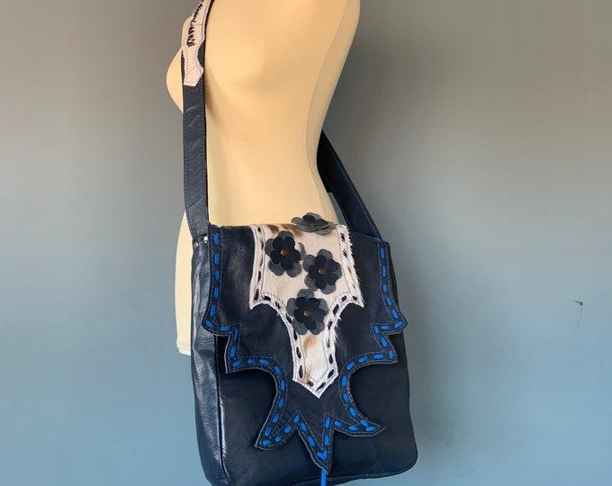 Featured listing image: Blue leather shoulder bag oboe bag crossbody bag boho style with a goat fur