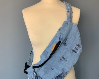 Fanny pack Demin bumbag with tearing hip pouch