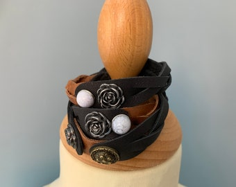 Black brown leather wrap bracelet with studs size