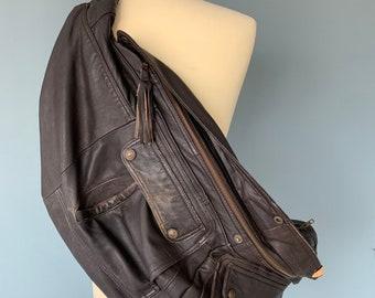 Fanny Pack XXL oversize bumbag shoulderbag Brown leather