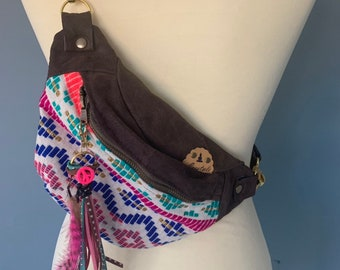 Fanny Pack Small hip pouch bumbag boho print with leather